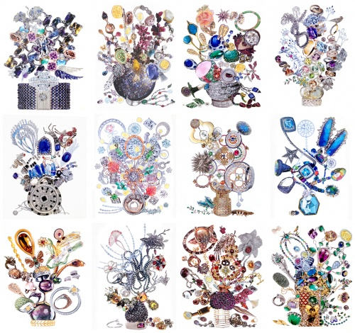 Society of Gardeners: XII Bouquets of Jewelry, collage, 24x18 each