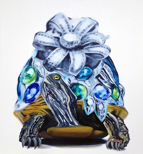 leila cartier, Inlaid Tortoise, oil on canvas, 52x48