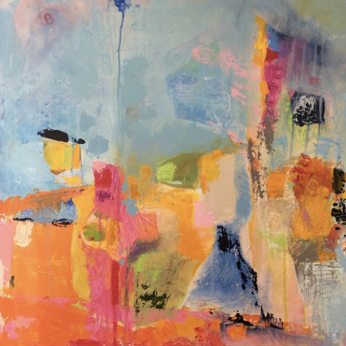 """""""Tuning In"""" by Sally K Eisenberg, Acrylic on Canvas"""