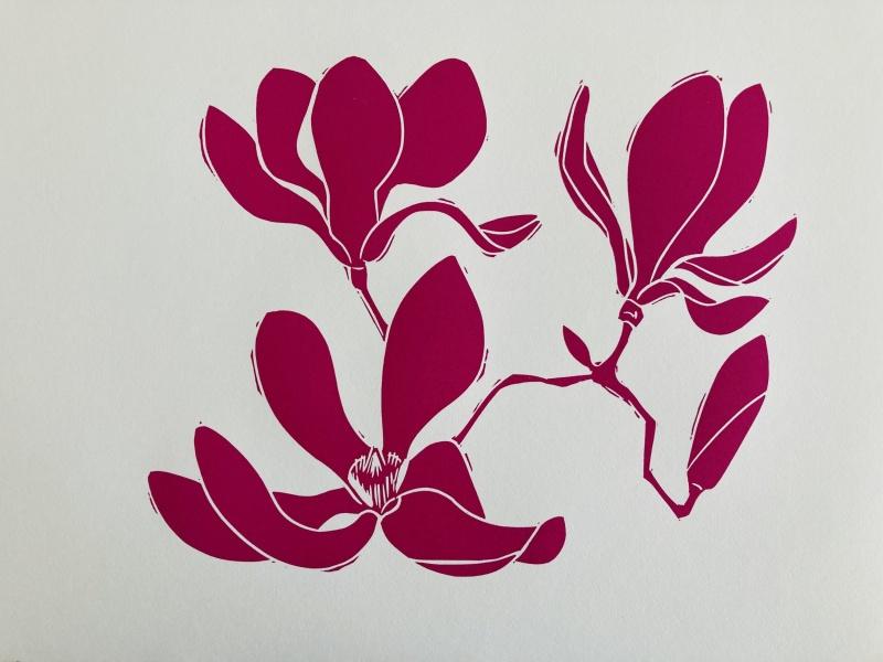 Magnolia image from COVID linoleum prints by Alice Austin