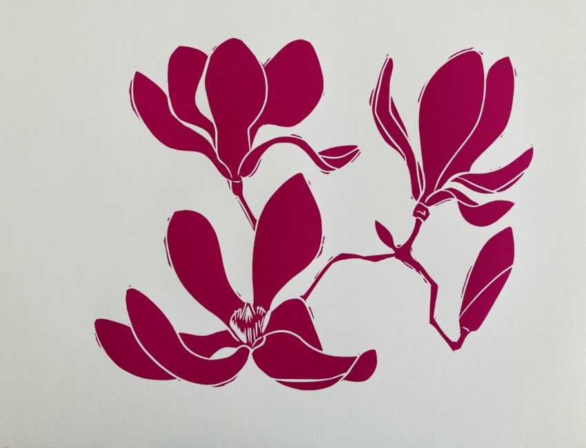 Magnolia image from COVID linoleum prints by Alice Austin